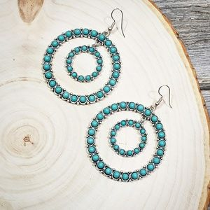 Turquoise Burnish Silver Double Ring Hoop Earrings